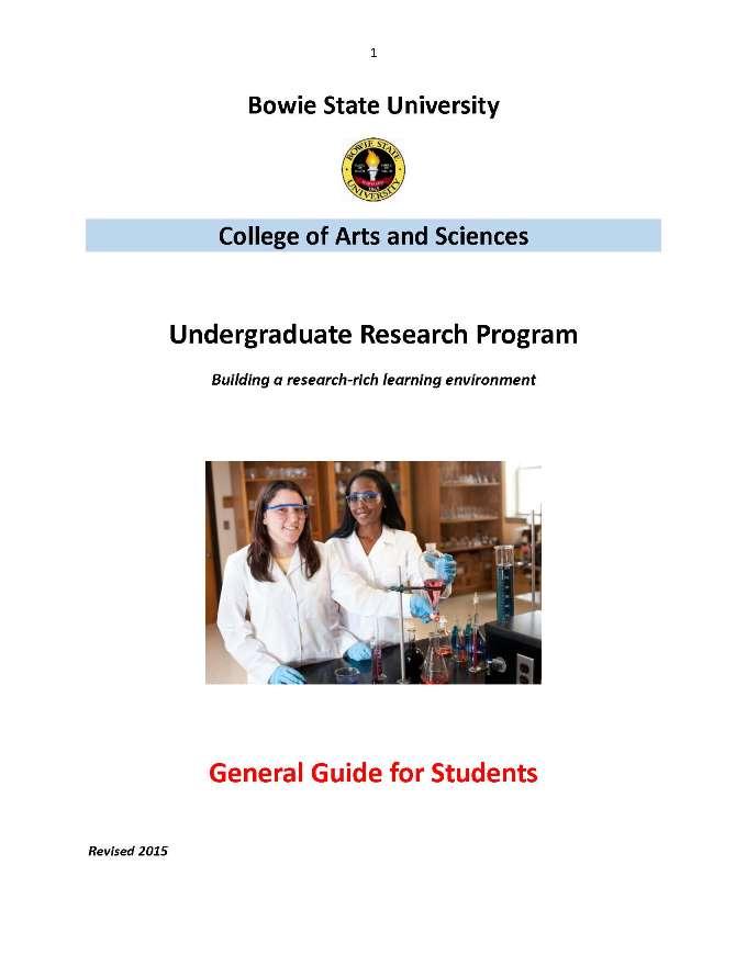 Undergraduate Research Program Manual - Bowie State University
