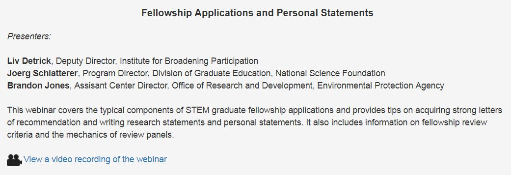 Fellowship Applications and Personal Statements