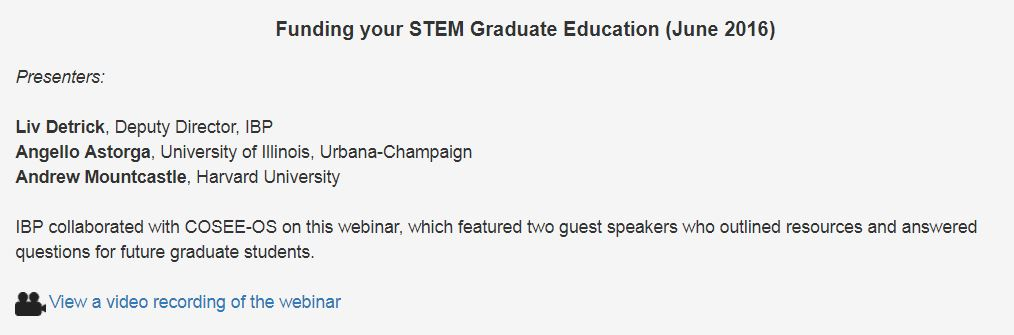 Funding your STEM Graduate Education