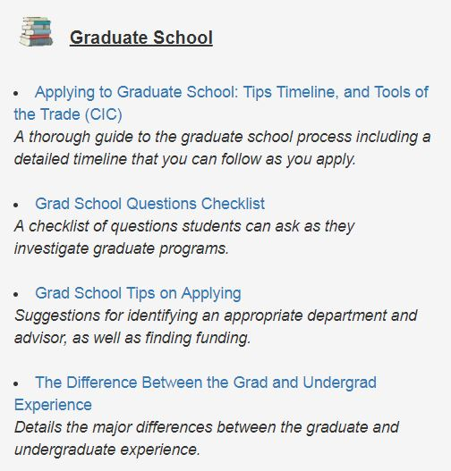 Preparing for Graduate School Resource Toolbox