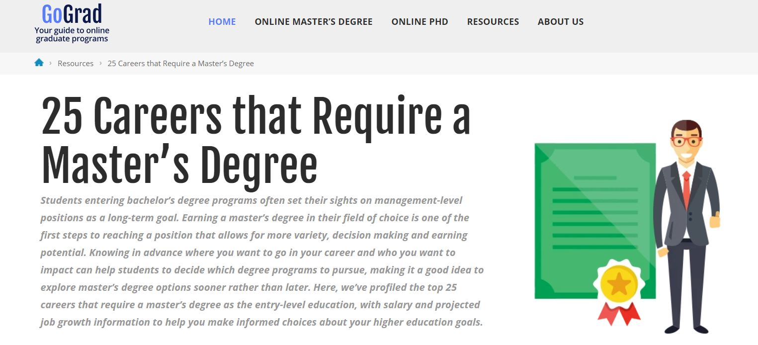 25 Careers that Require a Master's Degree